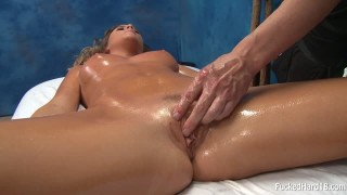 Alexis Adams gets a special massage for her puss