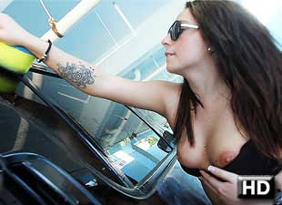 Nena Colada in Spanish Girl Nina Colada gives $10 Car Wash a.