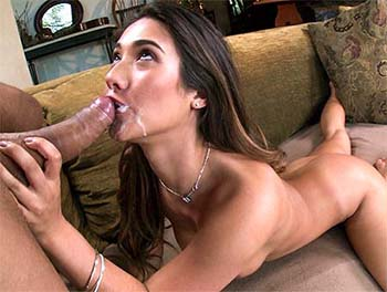 Sexy brunette sucks big dick