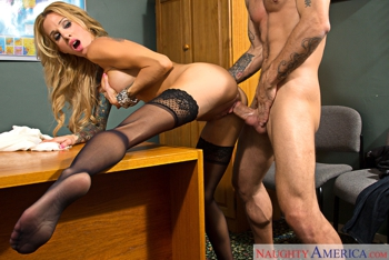 Action In Office With Busty Inked Whore
